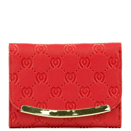 Red wallet with M engraved and metal flap