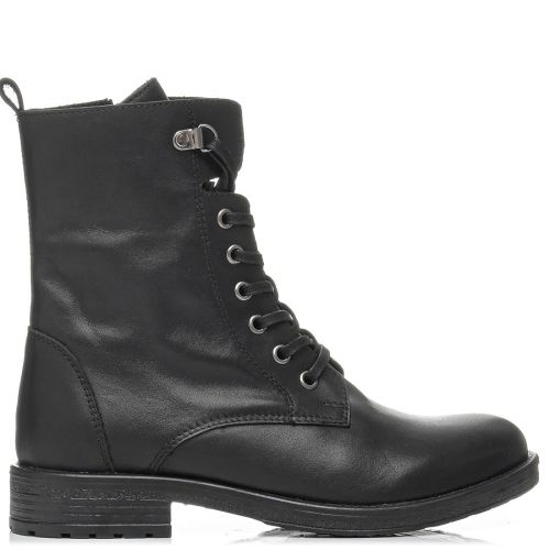 Black leather army boot with laces