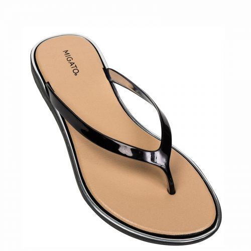 Black shiny flip-flop