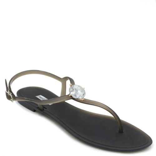 Women's black transparent sandal with rhinestone
