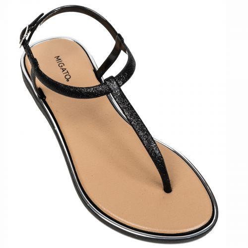 Black flip-flop with glitter