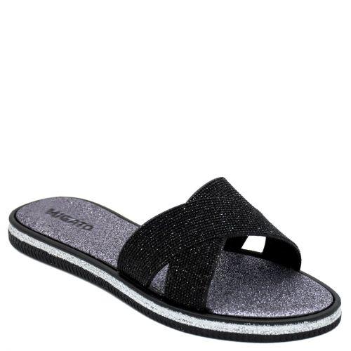 Women's black slides with glitter