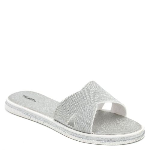 Women's silver slides with glitter