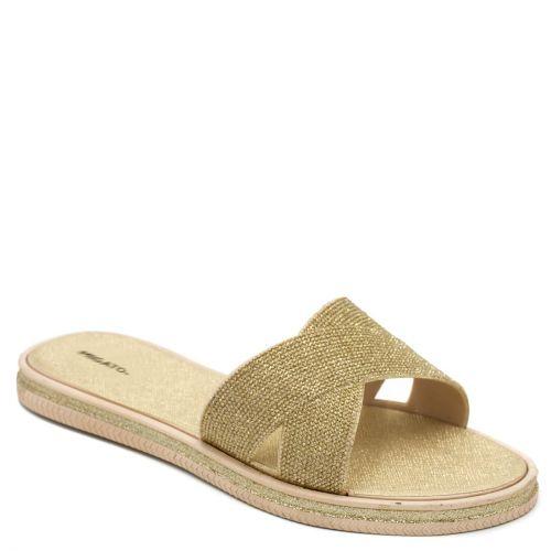Women's gold slides with glitter
