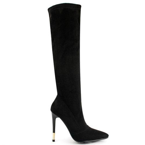 Black boot with metal heel