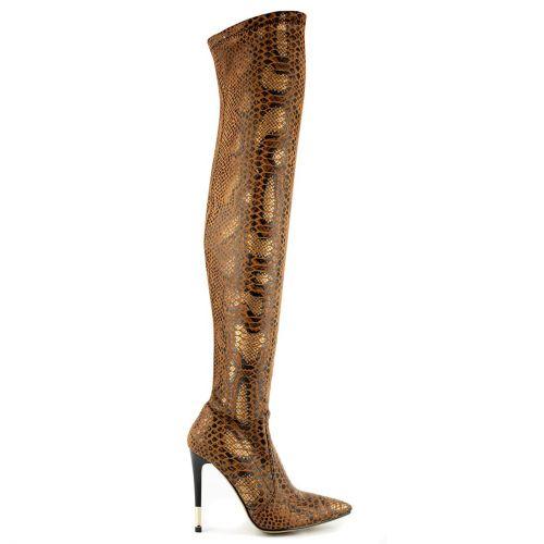 Camel snakeskin over the knee boot