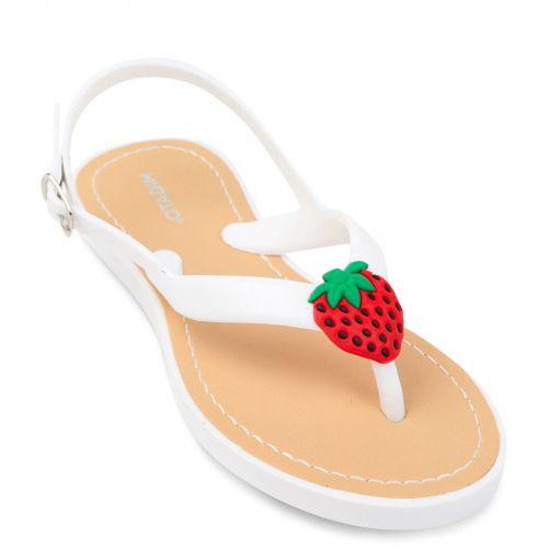 Λευκή σαγιονάρα με φράουλα