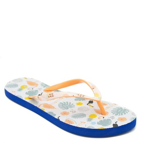 Women's flip-flop with orange thong and summer print