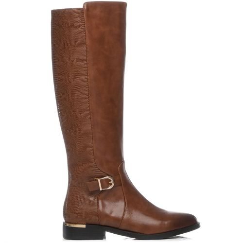Tobacco riding boot with buckle