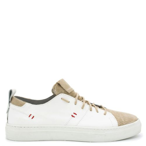 Men's white - beige leather sneaker