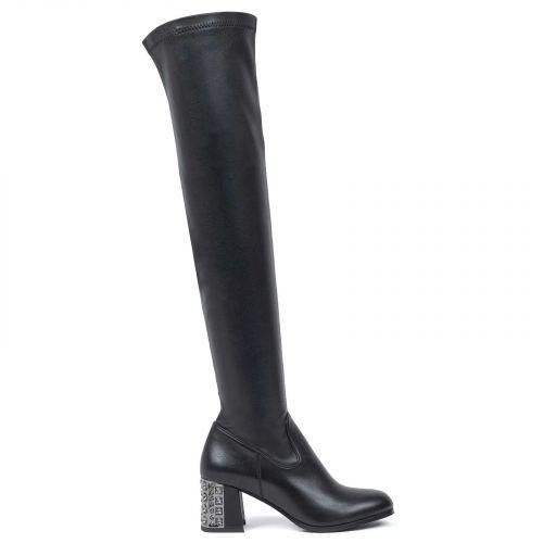 Μαύρη μπότα ματ πάνω από το γόνατο