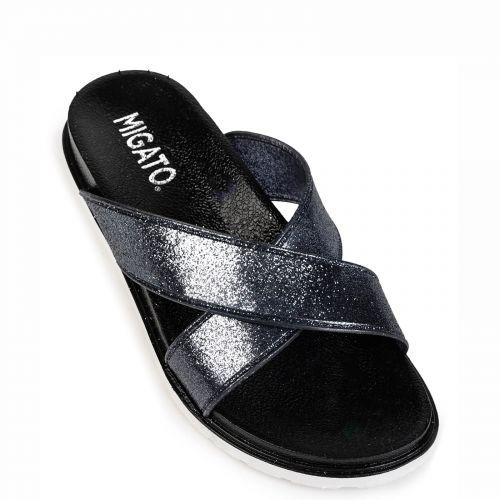 Black metallic flip flop