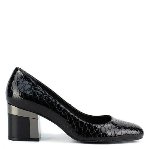 Black leather croc pump