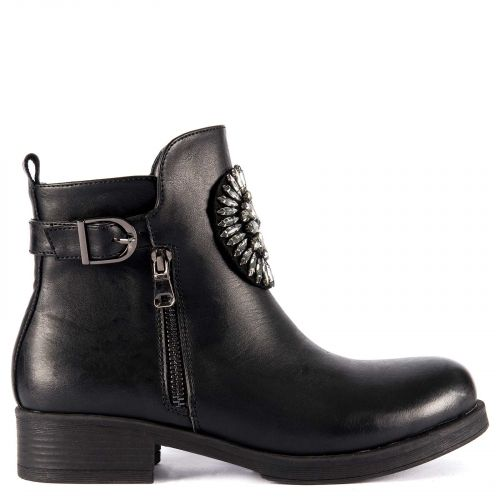 Black low cut bootie with stones