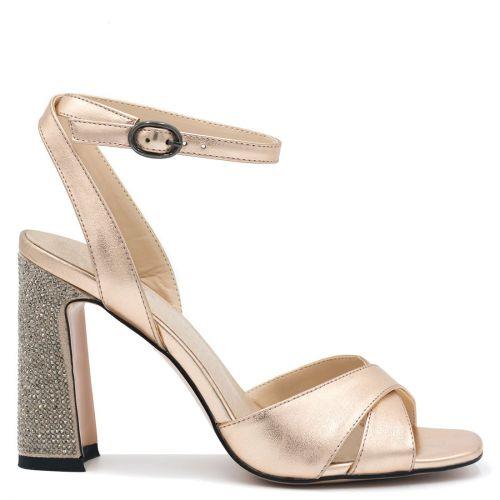 Pink gold high heel with rhinestones
