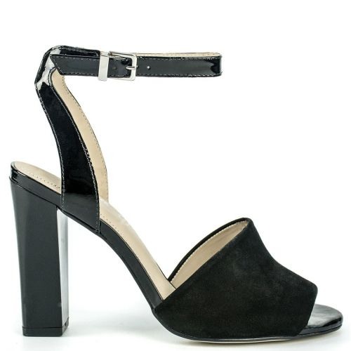 Black leather high heel sandal