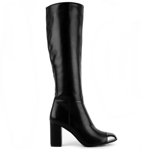 Black boot with metallic toe cap