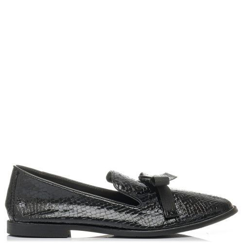 Black snakeskin loafer