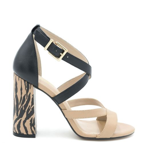 Beige-black multistrap leather sandal