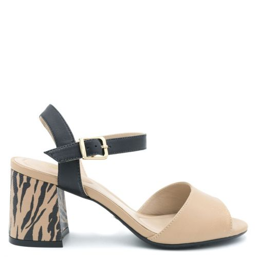 Black beige leather sandal