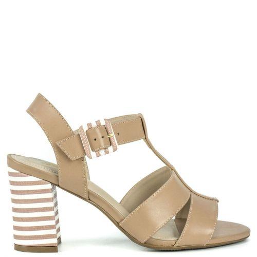 Nude leather high heel sandal