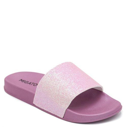 Μοβ γυναικεία slides με glitter