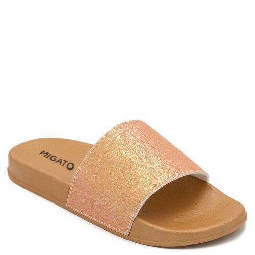 Women's orange slides with glitter