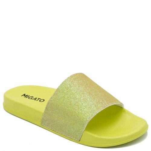 Women's yellow slides with glitter