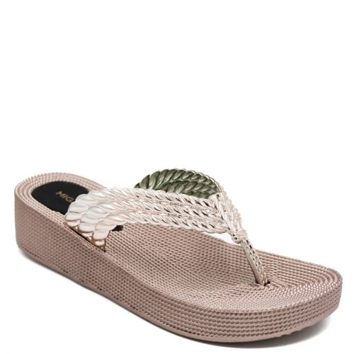 Women's pink/gold flip-flop with braided thong