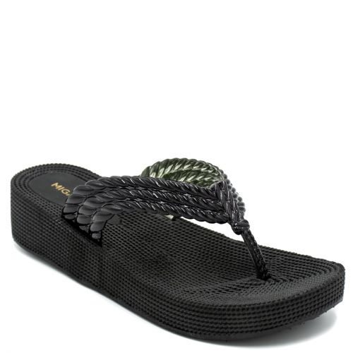 Women's black flip-flop with braided thong