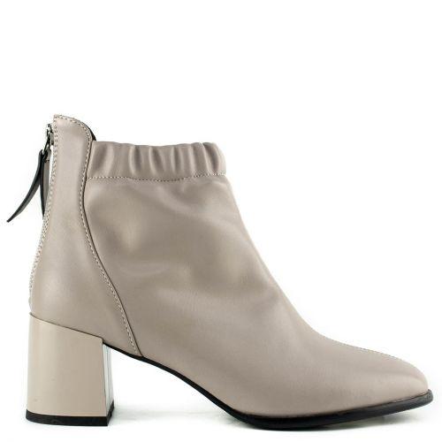 Grey block heel bootie
