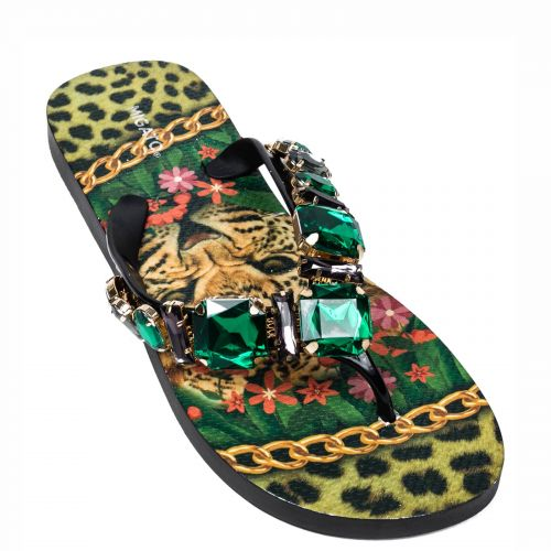 Flip flop with green stones