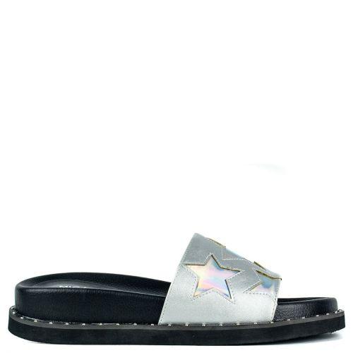 Silver slide platform sandal