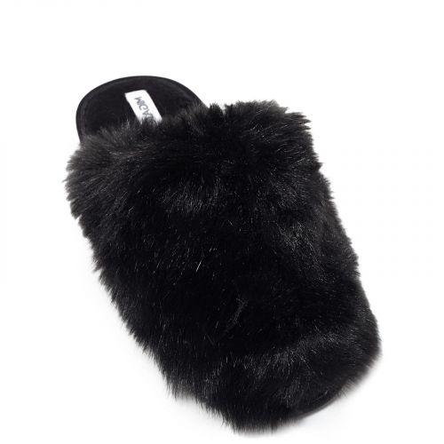 Μαύρη γούνινη παντόφλα