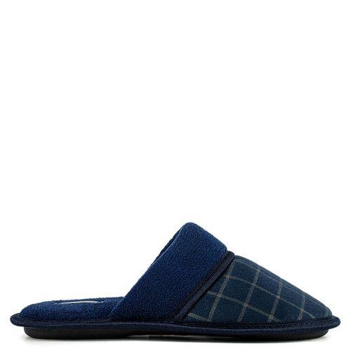 Men's dark blue tattersall slipper
