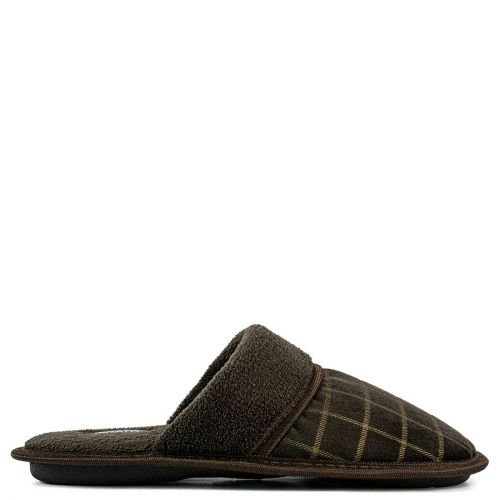 Men's brown tattersall slipper