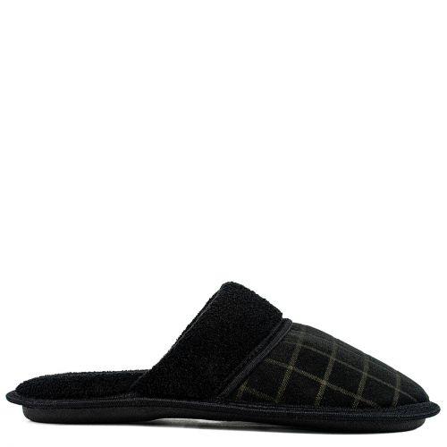 Men's black tattersall slipper