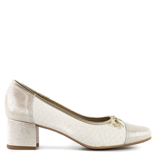 Gold leather pump
