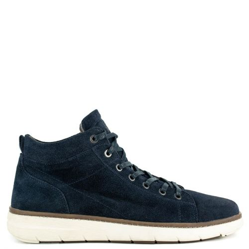 Men's blue suede leather sneaker boot