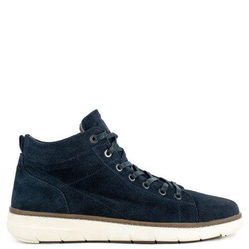 Ανδρικό μπλε δερμάτινο καστόρι sneaker μποτάκι