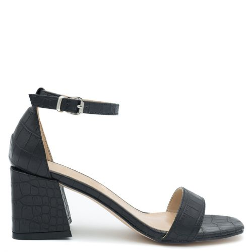 Black sandal in croc pattern