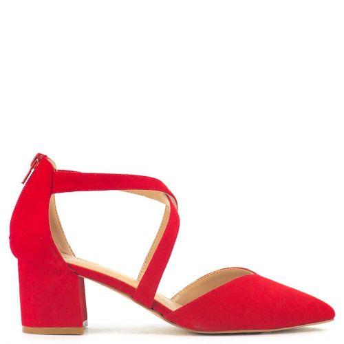 Red suede pointy pump