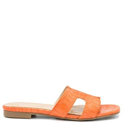 Πορτοκαλί ίσιο croco σανδάλι