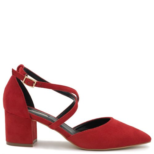 Red suede pump