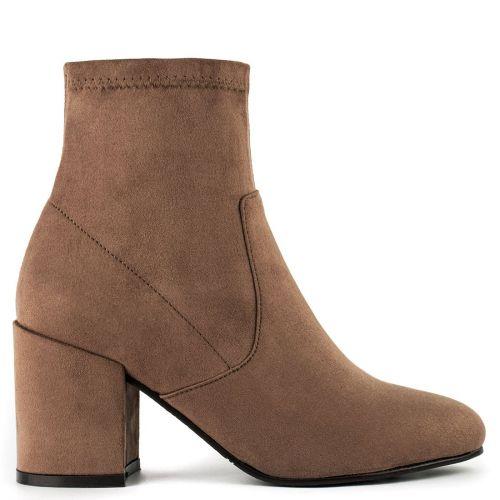 Camel high heel bootie