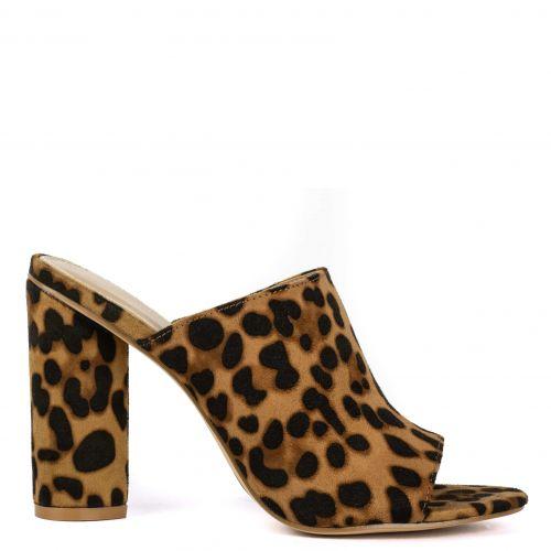 Leopard high heel mule