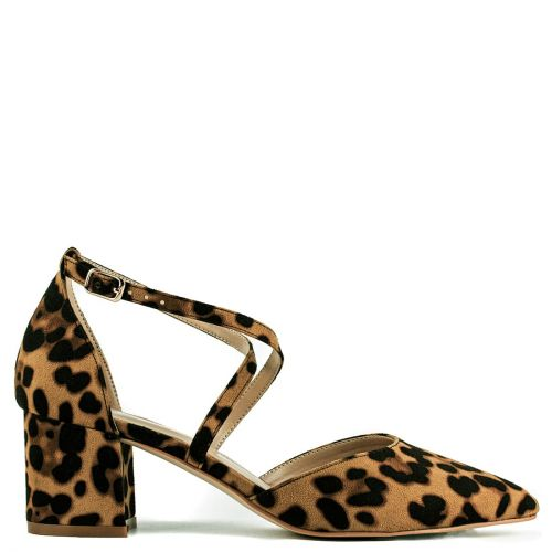 Leopard cross strap pump