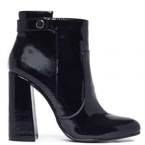 Black high heel bootie in patent