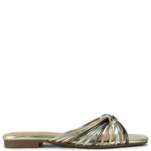 Muticolor fuchsia metallic sandal
