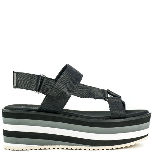 Black slide sandal with bands